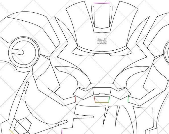 Iron Man Mark 42 Helmet A4 Letter Size Pdf Template Ready Etsy In 2021 Iron Man Helmet Iron Man Drawing Iron Man