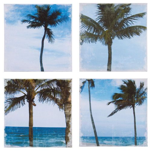 Set Of 4 Palm Tree Canvas