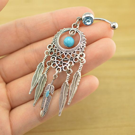 belly button rings dream catcher belly button by vickybodyjewelry