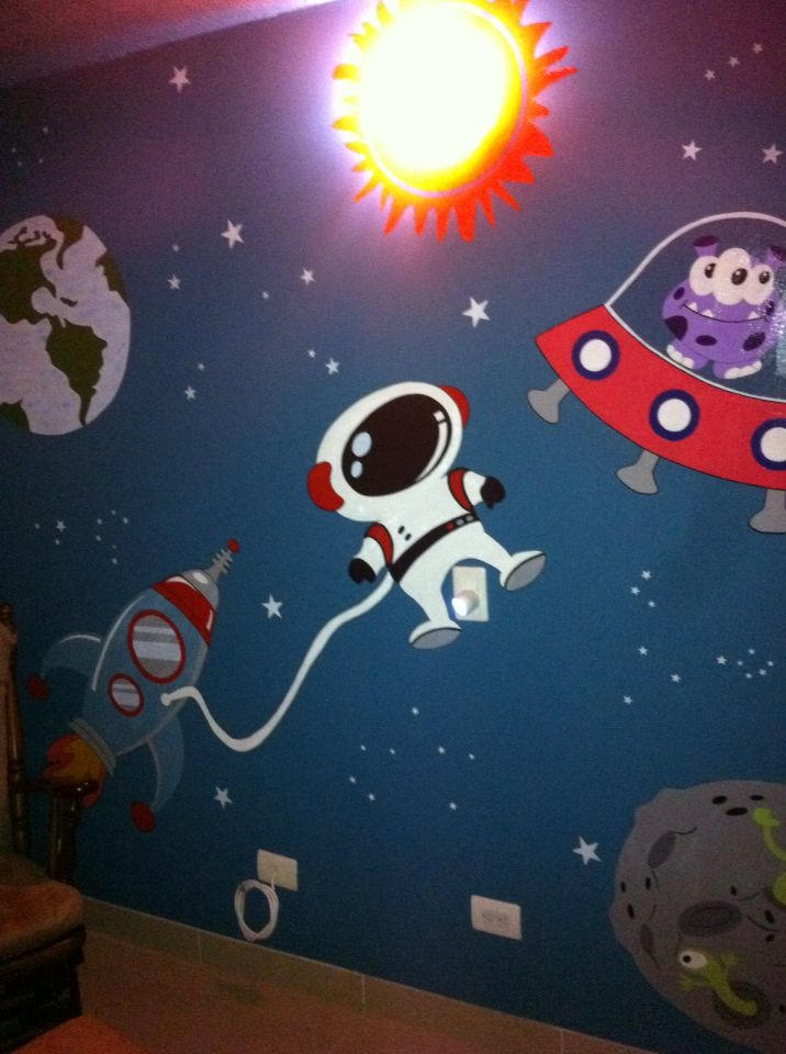 Space room child hand painted with vinyl water