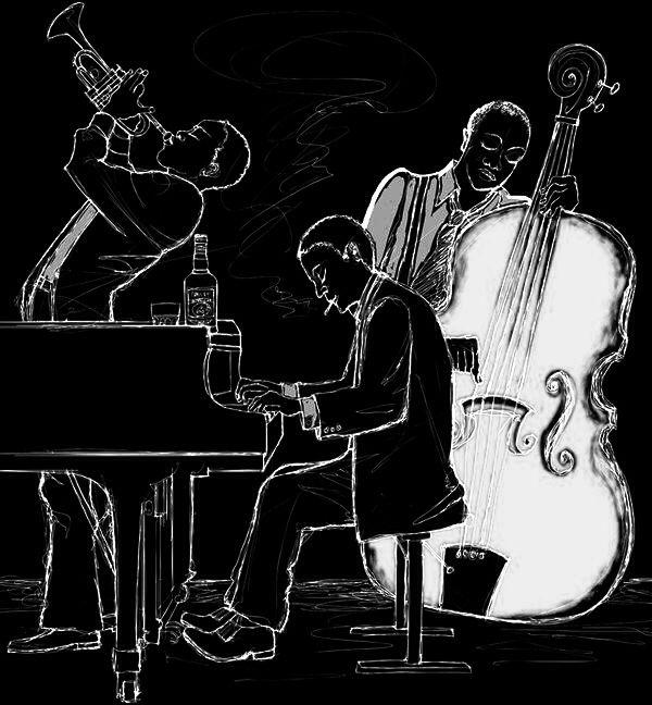 Черно белая картинка музыкант