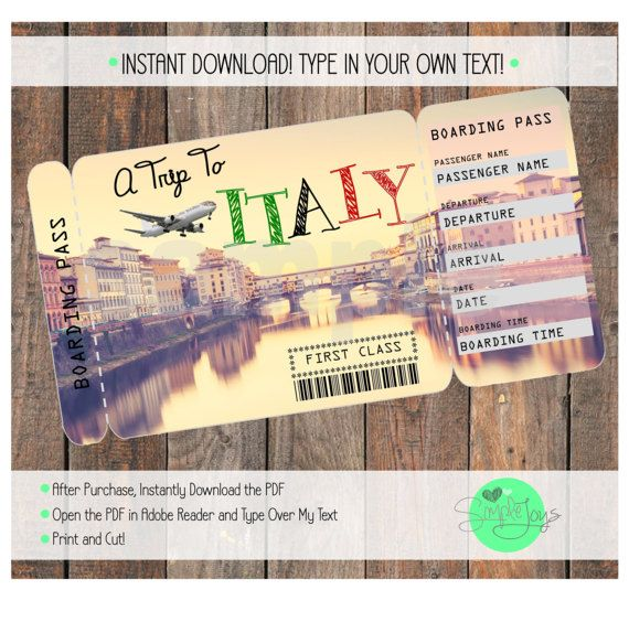 Printable Ticket to Italy Boarding Pass Customizable
