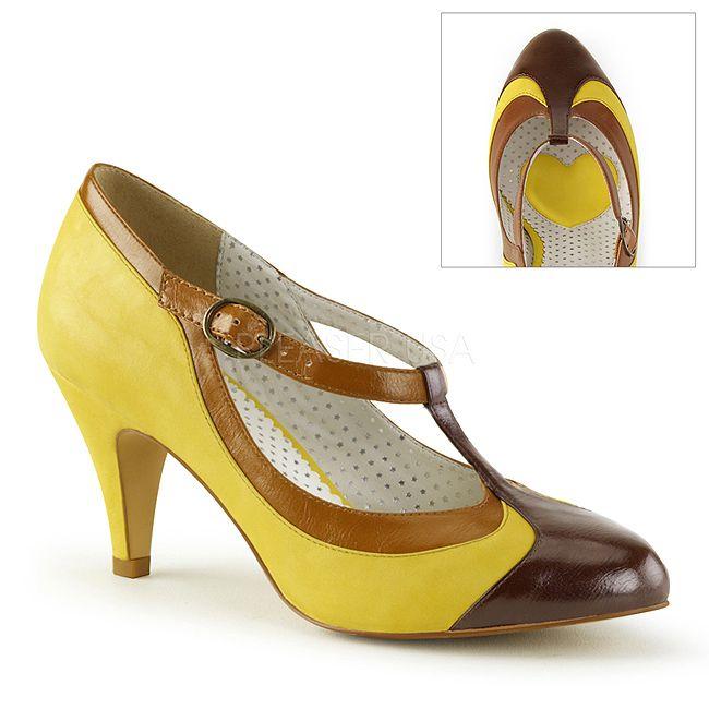 Geel 8 cm PEACH-03 Pinup pumps schoenen met lage hakken