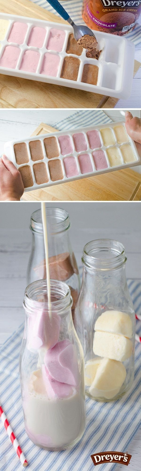 Make ice cream cubes to add to milk and floats. | 29 Next-Level Ice Cream Treats You Can Make At Home This Summer