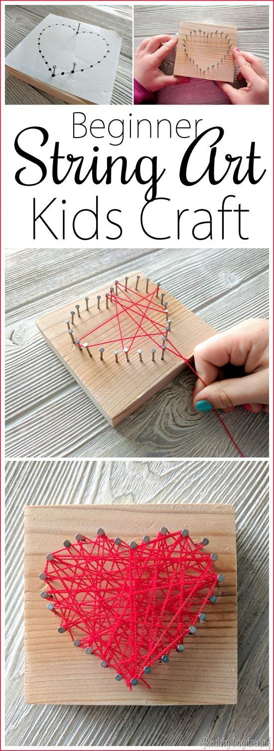 String Art Kids Craft … in Herzform zum Valentinstag! {Reality Daydream … – … – Schön Kunsthandwerk Ideen