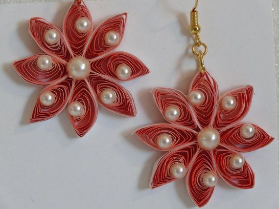 Quilling Orange Earrings with Pearls ♥ by QuillingByBetty on Etsy, $12.00
