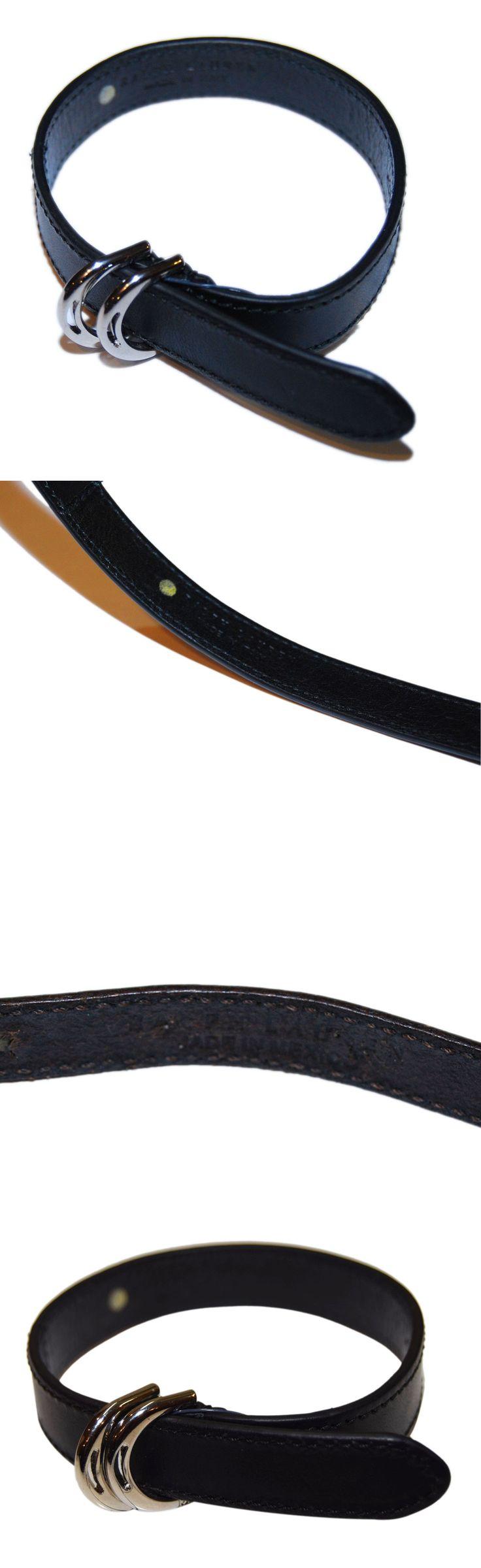 Wristbands 106129: Polo Ralph Lauren Women Equestrian Leather Horseshoe Bracelet Black Silver Italy -> BUY IT NOW ONLY: $159.2 on eBay!