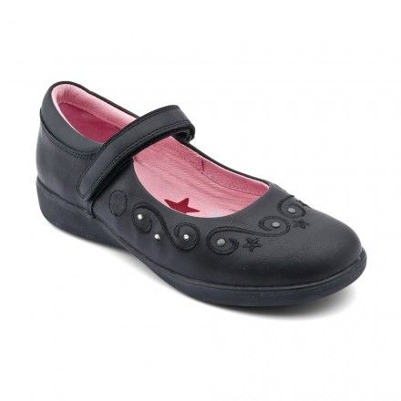 Stars, Black Leather Girls Riptape School Shoes - Girls School Shoes - Girls Shoes http://www.startriteshoes.com/girls-shoes/school-shoes/stars-black-girls-riptape-school-shoes-23994