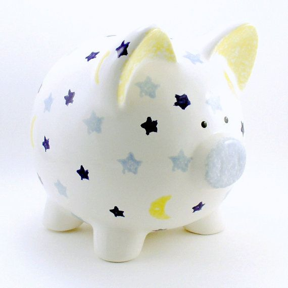 Moon Stars Piggy Bank Personalized Solar System Kids