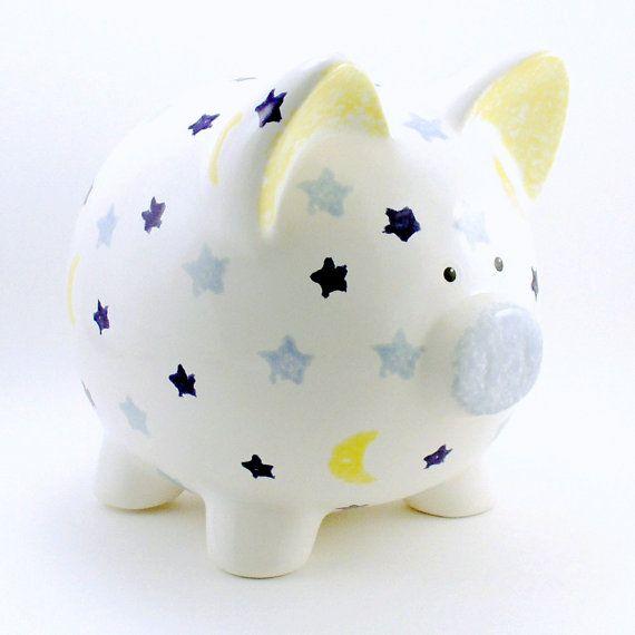 #MoonAndStars Personalized Ceramic #PiggyBank  by #ThePigPen, $42.50