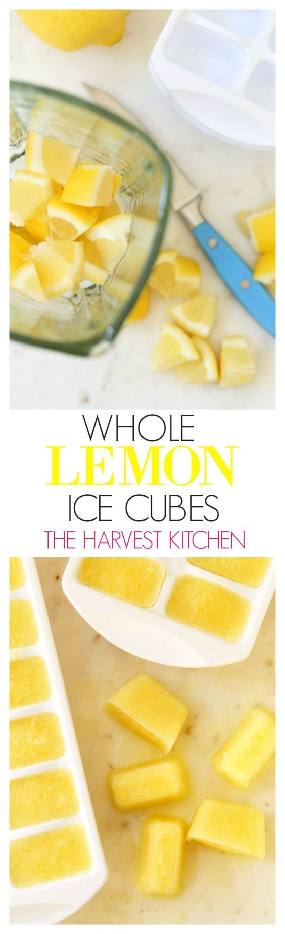 These Immune Boosting Whole Lemon Ice Cubes pack a big nutritional punch, and they add great flavor when added to a tall glass of water, juice blends, smoothies, soups and sauces. @theharvestkitchen.com