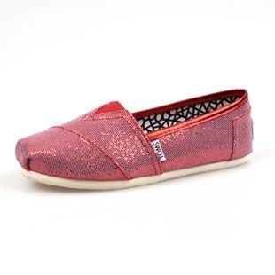 Women Light Red Glitters Toms Shoes$19.77