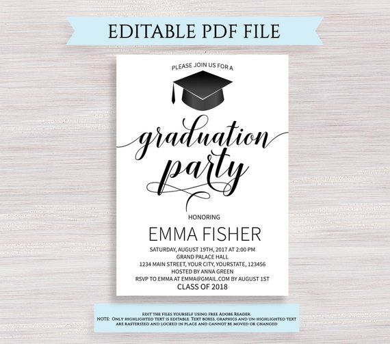 Graduation Party Invitation Editable Graduation Invitation