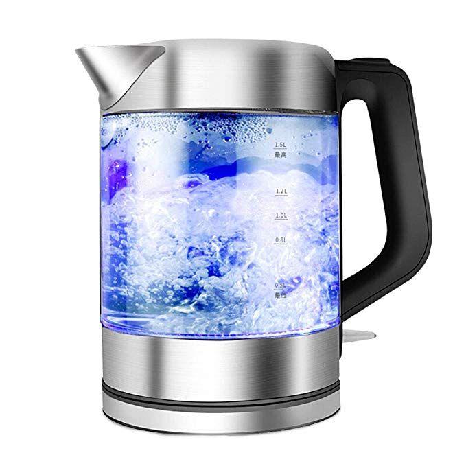 Electric Tea Kattle 1.5 Litter Glass Cordless Stainless Steel Water Heater Pot