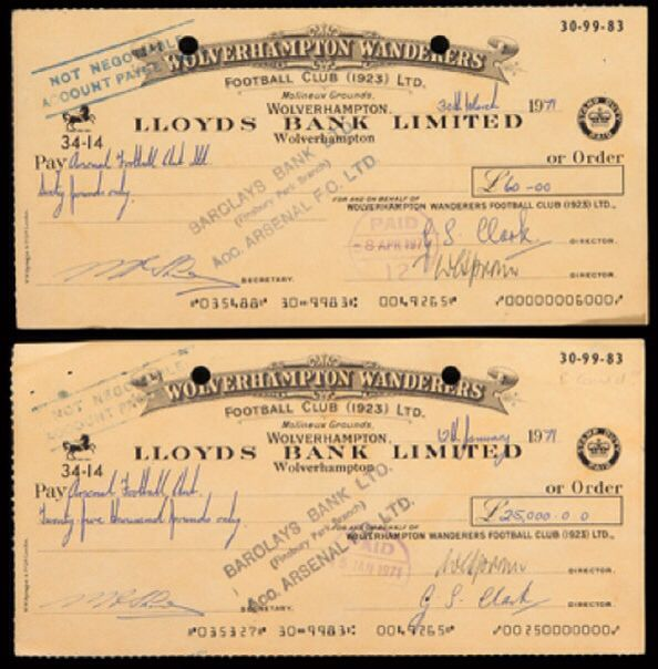 Two cheques from Wolves to arsenal dated 1971