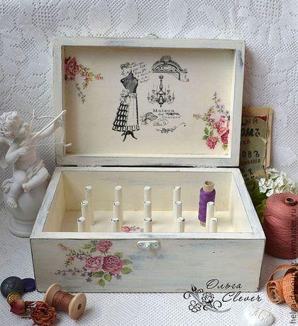 """Caixões feitos à mão. Mestres Fair - caixa handmade para thread """"Rosas para a modista em Paris."""" Handmade."""