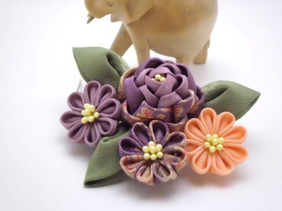 Tsumami Kanzashi Hair Comb/ Purple Lilac Coral by JagataraArt