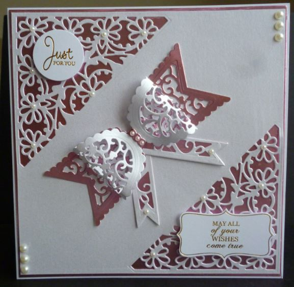"""Made by Pam Evans - """"I used the Dainty Bows dies and Envelope dies for this card on a 7"""" x 7"""" card. Finished the card with pearls and a couple of sentiments."""" #tonic #tonicstudios"""