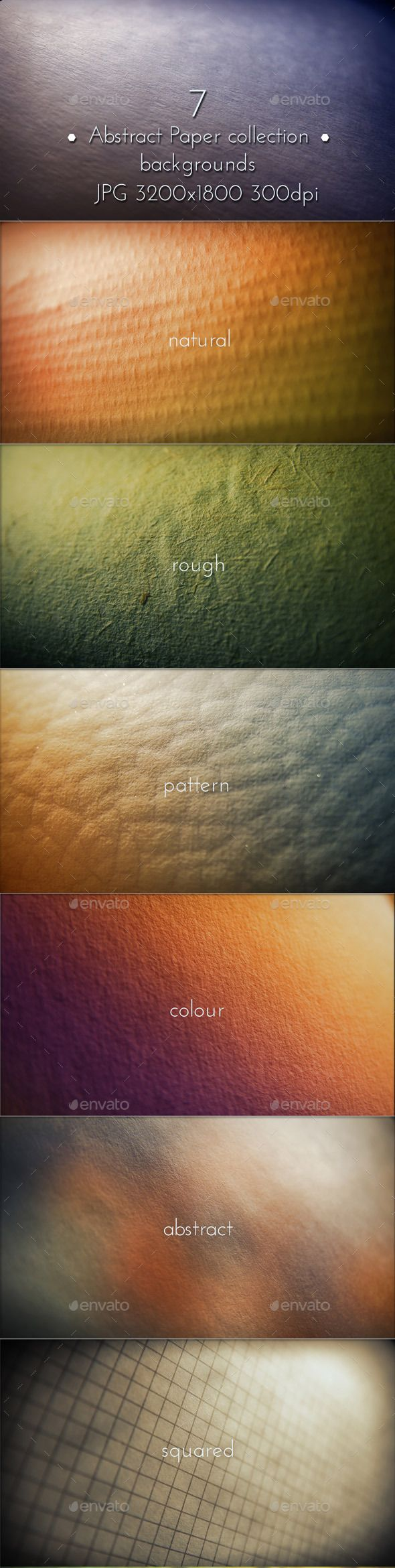 Paper Close Up Surface collection backgrounds. Shallow Depth of Field (Look 100% screenshots). 7 hi-res JPG images. 3200×1800, 300 DPI. #graphicriver #paper #design