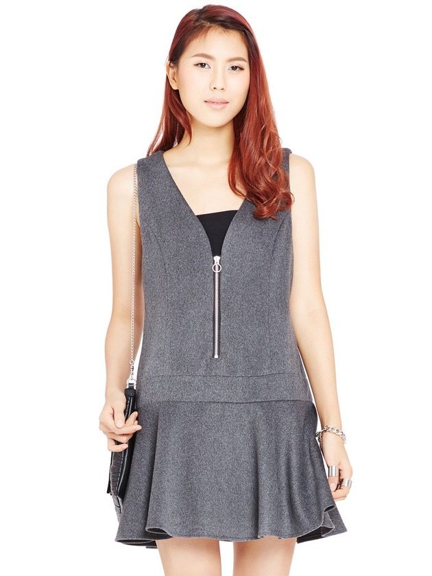 Image of Zipped Drop Waist Dress