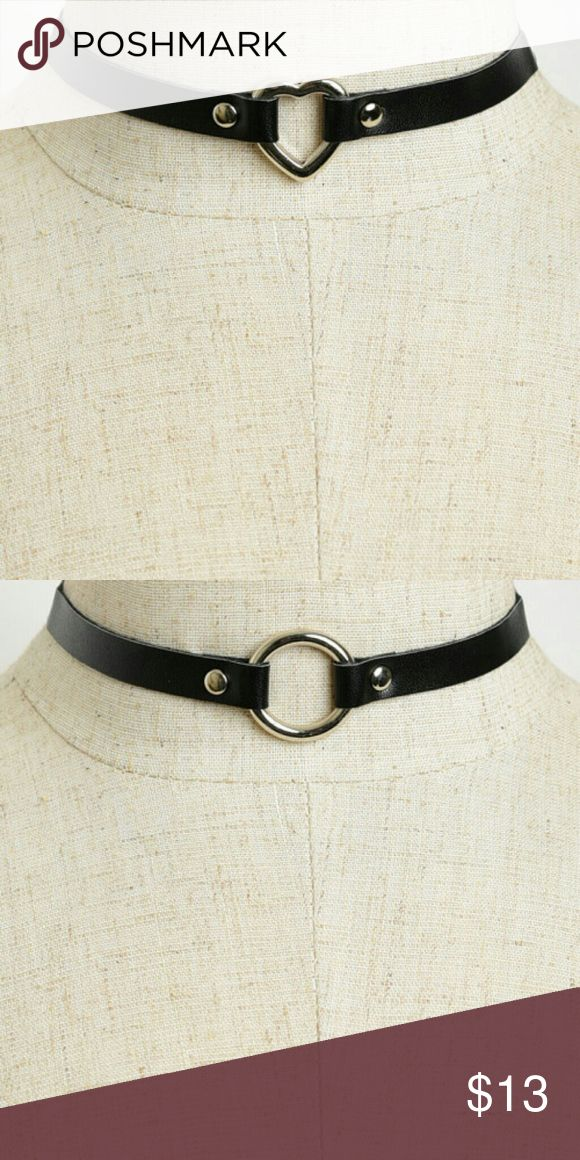 Leather Heart Or Circle Choker New faux leather heart or circle choker. See boutique for more fashions! Follow us to see New items posted daily! #love...