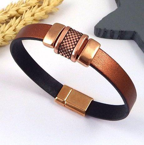 bracelet cuir cuivre avec perles et fermoir zamak cuivré de la boutique Perlesetcuir sur Etsy