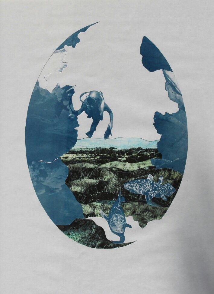 """In loving memory of Peter and Adele"", 2015 -inkjet print and cyanotype collage (chloe obermeyer) #cyanotype"