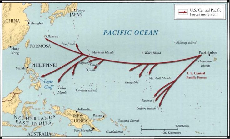 Map showing the path that US soldiers took while island hopping
