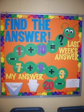 Math Caterpillar Created this during college and kids love it! Easy to change based on grade level and your students needs.