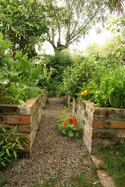 Brick raised gardens - beautiful and low maintenance.