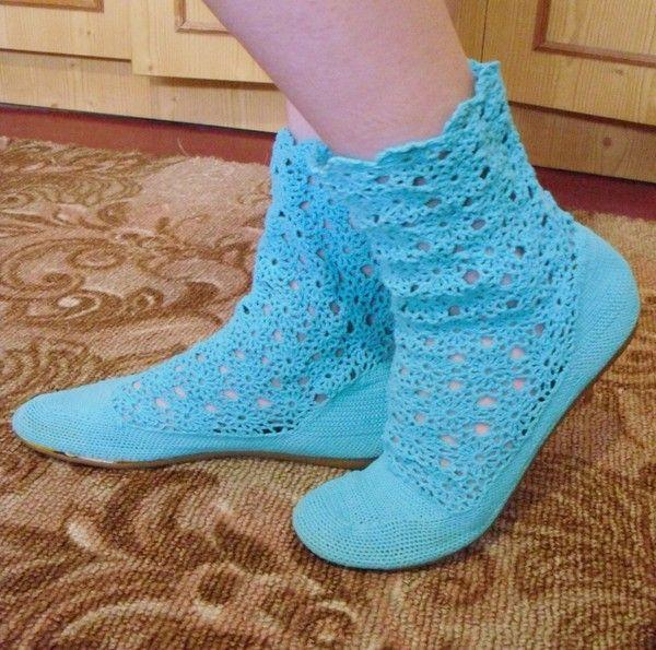 Стильное вязание обуви: летние сапожки, сделанные своими руками. Описание + схема