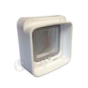 The first ever cat door that's capable of restricting access in and out. Allows you to set access to permissions on a pet-by-pet basis. For doors, walls, or in-glass. White or brown. http://www.moorepet.com/SureFlap-DualScan-Microchip-Cat-Door-p/sur-ds.htm