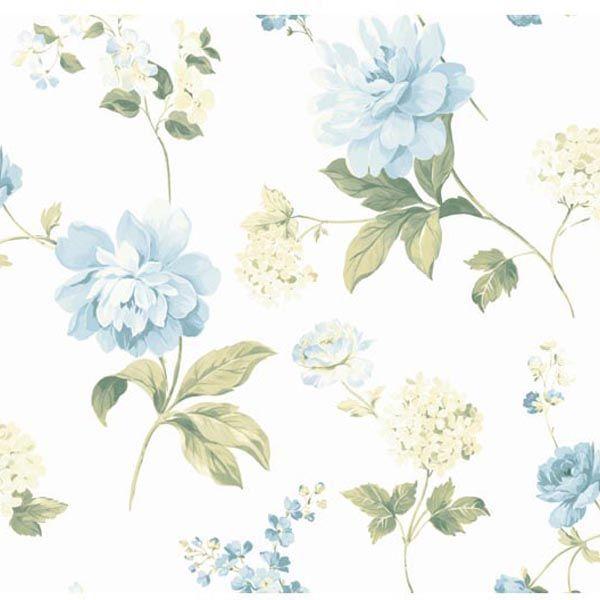 CKB77703 Blue Peony Wallpaper - Kitchen, Bed, & Bath by Chesapeake