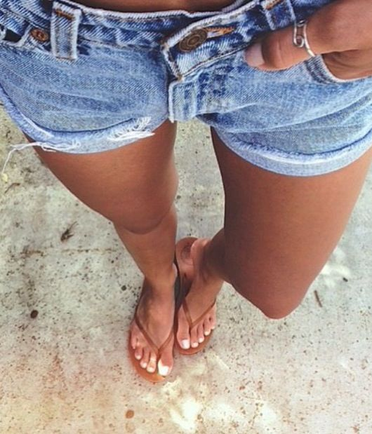 How do you like to rock your #denim #shorts? With flat sandals, or ...