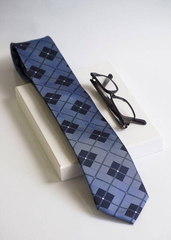 Blue tartan plaid mens tie. Clasic nerd tie in black by tiestory