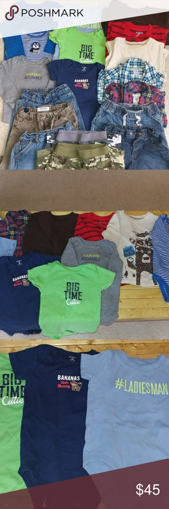 Toddler boy clothing bundle (18 mos) Toddler boy clothing bundle (18 mos). Various brands. 7 pairs of pants. 3 short sleeve onesies. 3 long sleeve onesie and 5 long sleeve shirts. Good condition. Other