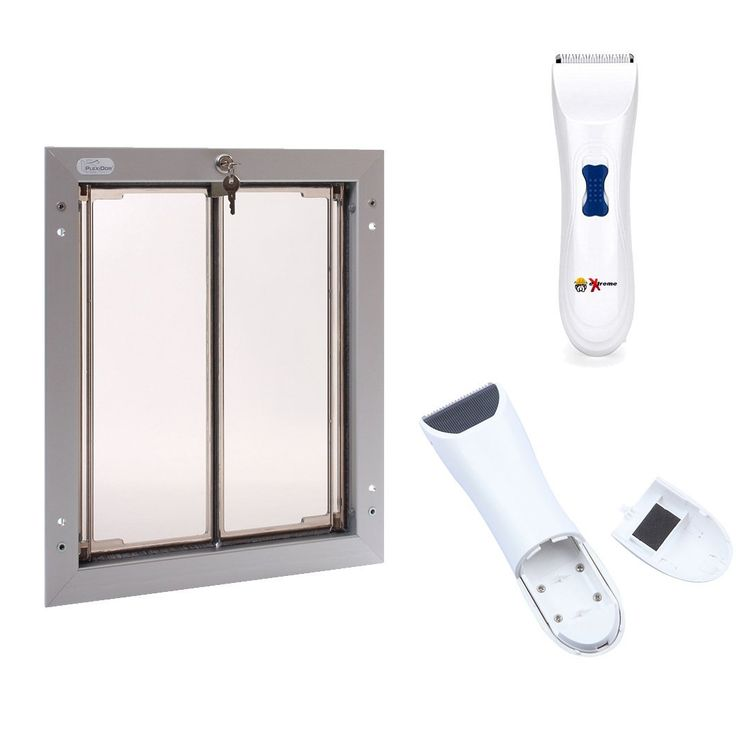 PlexiDor Performance Pet Door Large Silver Dog Door for Doors and Free eXtreme Products Electric Dog Clippers for Pet Grooming PlexiDor Door Mount Pet Door - Large Silver (Typically For Dogs Up to 100 LBS., But See Read  more http://dogpoundspot.com/dog-luxury-store-1783/  Visit http://dogpoundspot.com for more dog review products