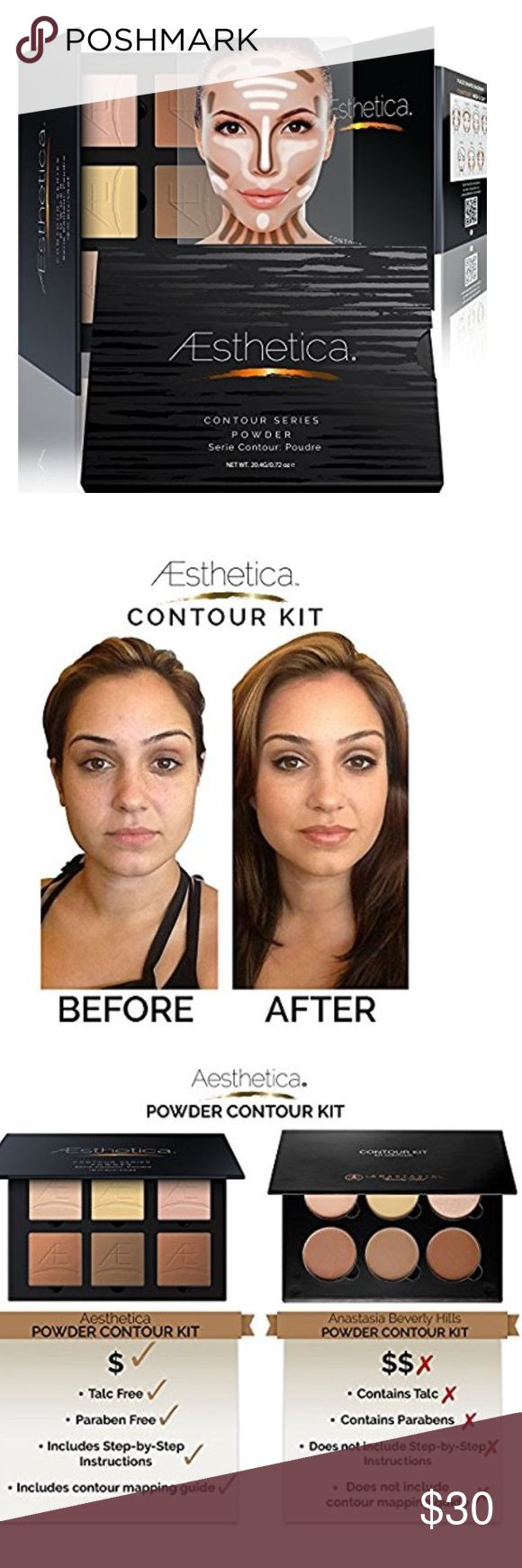 100% auth Aesthetica cosmetic countour Palette Aesthetica Cosmetics Contour and Highlighting Powder Foundation Palette / Contouring Makeup Kit; Easy-to-Follow, Step-by-Step Instructions Included. Makeup