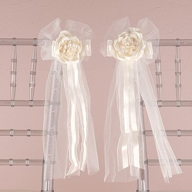 Pre-made Tulle and Ribbon Bows with Silk Rose