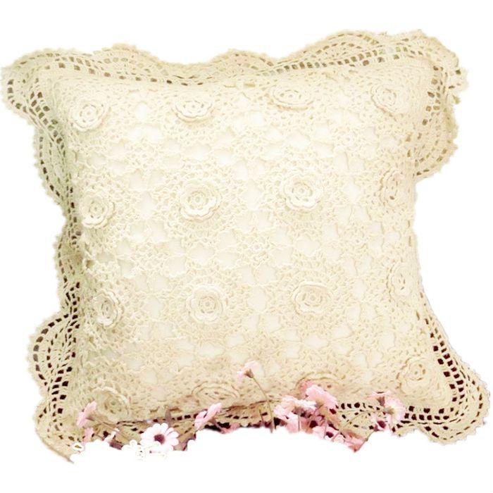 Handmade crochet stereo flower pillows sleeve crochet cushions Mori American beautiful design wedding home decor [Can custom] 9