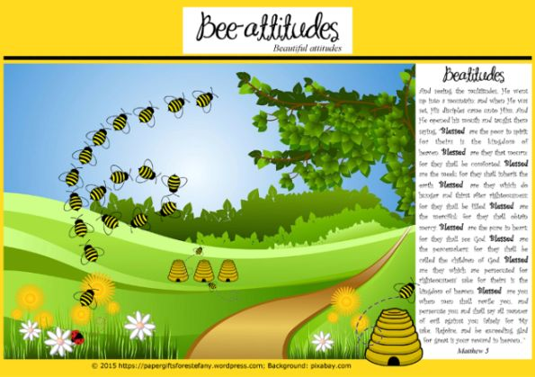 I had such fun designing these free printable 'bee-attitude' stationery and cute paper gift items for our kids; featuring the Beatitude Bible verses from Jesus' sermon on the moun…