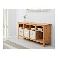 IKEA - HEMNES, Console table, black-brown, , Solid wood has a natural feel.8 compartments in two different sizes. Convenient storage for books, magazines, accessories, etc.