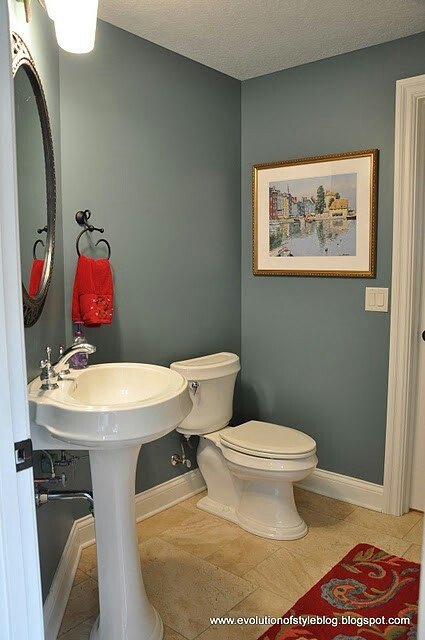 Slate Blue Bathroom With White Trim Elegant And Clean