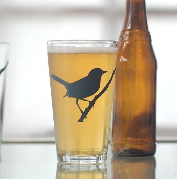 Wren, screen printed glassware, charcoal, set of 4 pint glasses  vital on Etsy