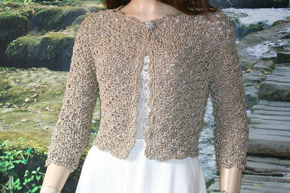 Beige silver crochet shrug/ Wedding bolero shrug//Bolero