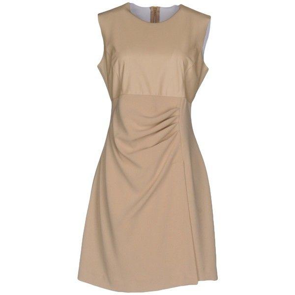 Pinko Short Dress (£74) ❤ liked on Polyvore featuring dresses, beige, mini dress, beige short dress, zipper mini dress, stretch mini dress and sleeveless dress