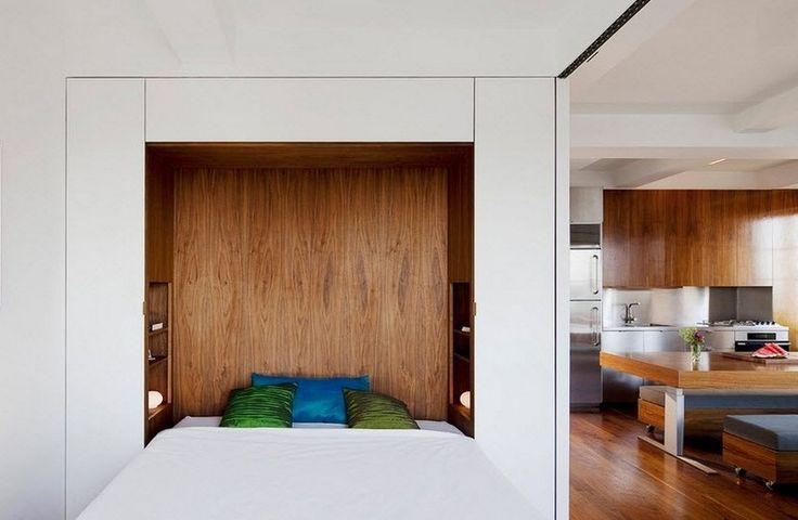 lit pont avec étagères comme alternative à la tête de lit avec rangement