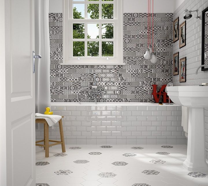 Metro Patchwork Black and White 3x6 Beveled Wall Tiles