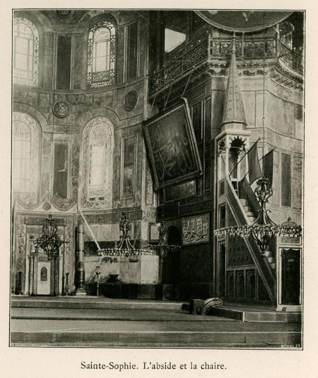 Η ιερή κόγχη και το μινμπάρ (αντίστοιχο του άμβωνα των χριστιανικών εκκλησιών στα ισλαμικά τεμένη) στην Αγία Σοφία της Κωνσταντινούπολης. - BARTH, Hermann - ME TO BΛΕΜΜΑ ΤΩΝ ΠΕΡΙΗΓΗΤΩΝ - Τόποι - Μνημεία - Άνθρωποι - Νοτιοανατολική Ευρώπη - Ανατολική Μεσόγειος - Ελλάδα - Μικρά Ασία - Νότιος Ιταλία, 15ος - 20ός αιώνας