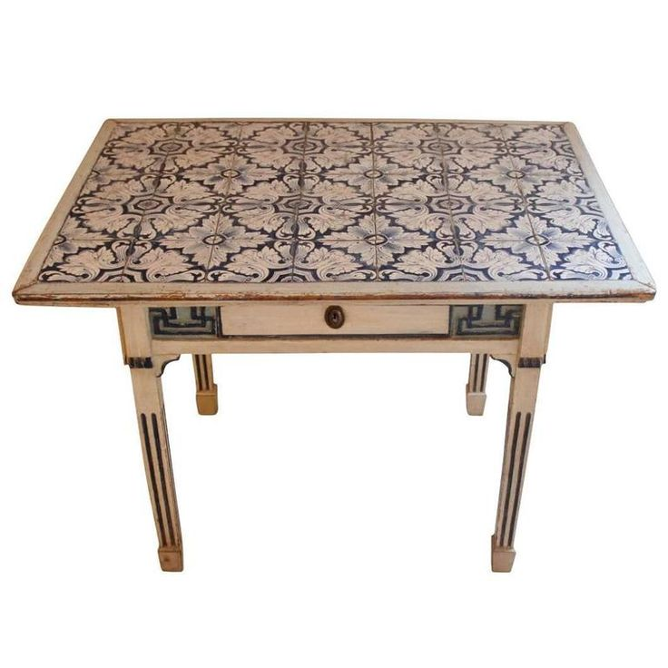 Tile-Top Table from Denmark with Dutch Tiles, Louis XVI, circa 1780 | From a unique collection of antique and modern tables at https://www.1stdibs.com/furniture/tables/tables/